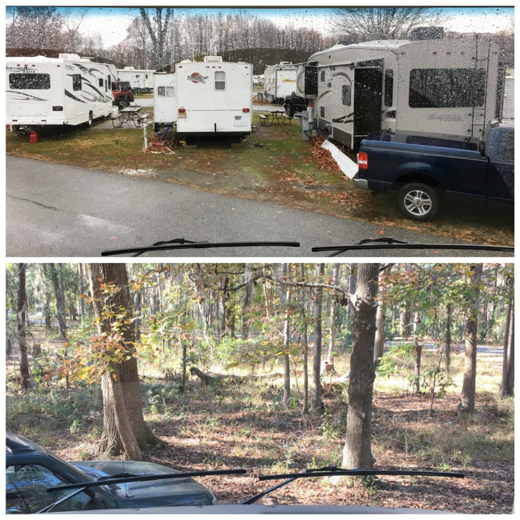 2 views from an RV windshield - one with RVs and one with trees