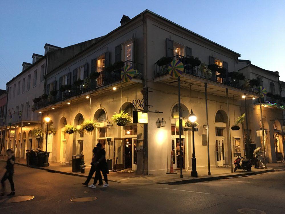 New Orleans street corner at dusk.
