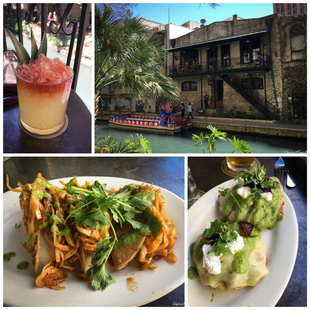 Collage of photos showing the Esquire Bar in San Antonio, drinks and food.