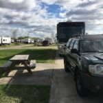 Narrow campsite at Gulfcoast RV Resort in Beaumont, Texas