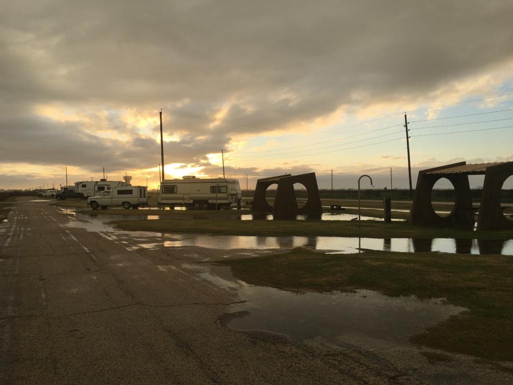 Flooded campsites at Galveston Island State Park