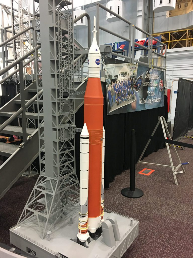 Model of future rocket carrying Orion capsule