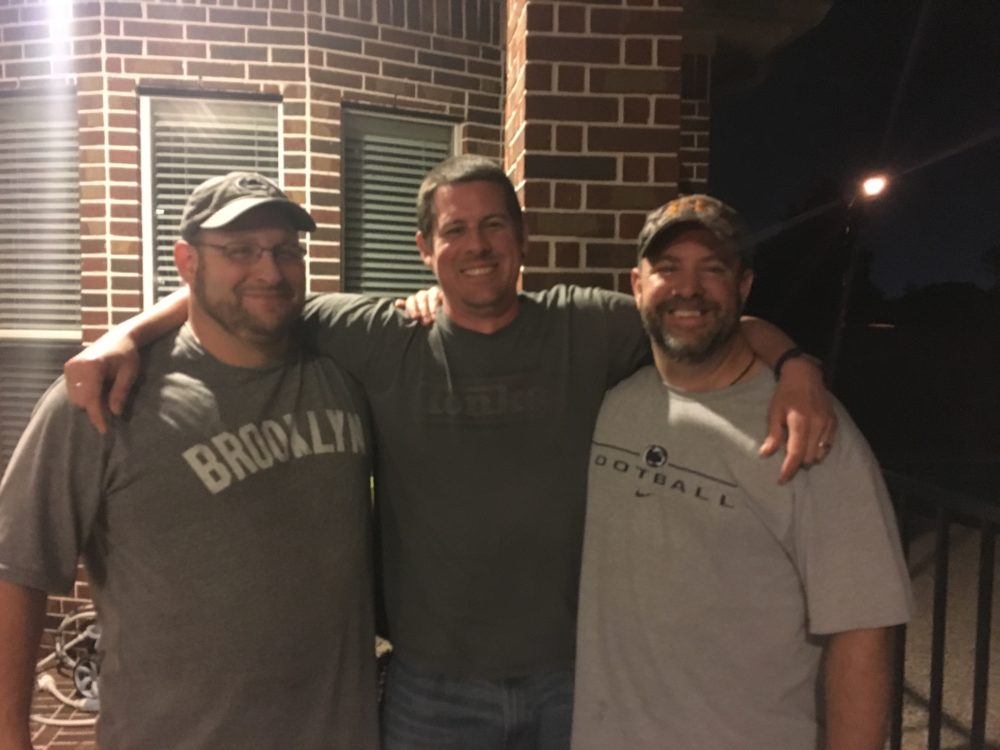 Kevin with his college roommates