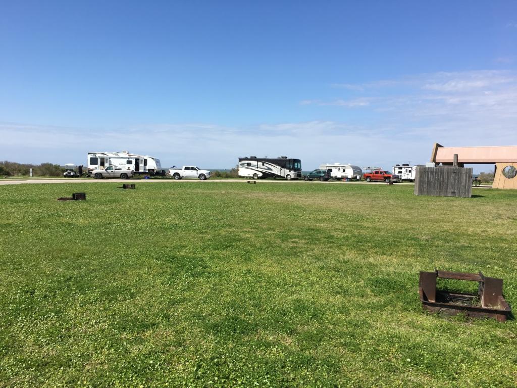 Bay side camp sites at Galveston Island State Park