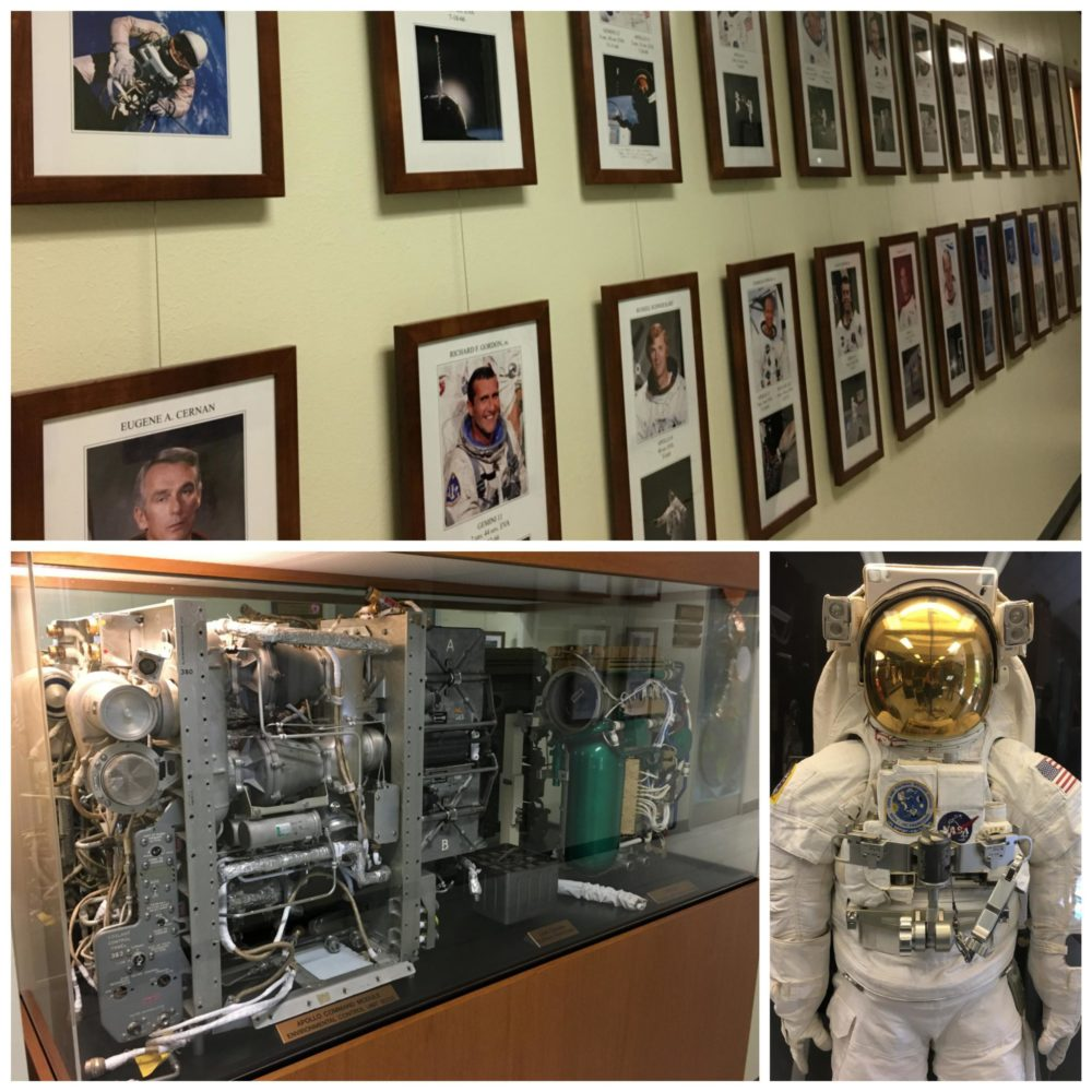 Collage of astronaut photos, a spacesuit, and equipment from Apollo 13, viewed during the Level 9 Tour