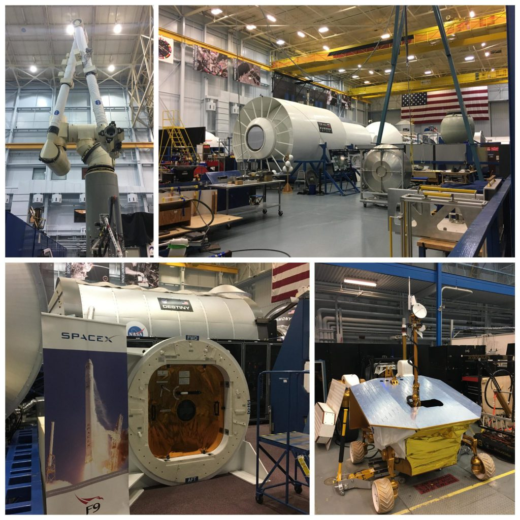 Collage of models in Building 9 at Johnson Space Center