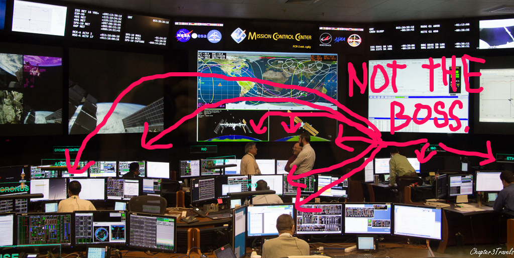 Many males who are not the flight director at Mission Control.