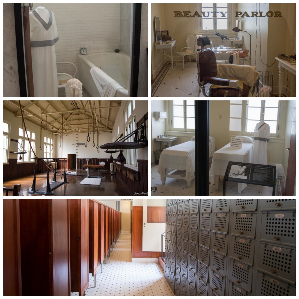 Collage of treatment and exercise rooms inside Fordyce Bathhouse