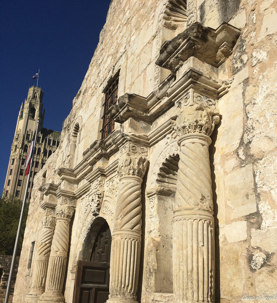 A close up view of the front of the Alamo