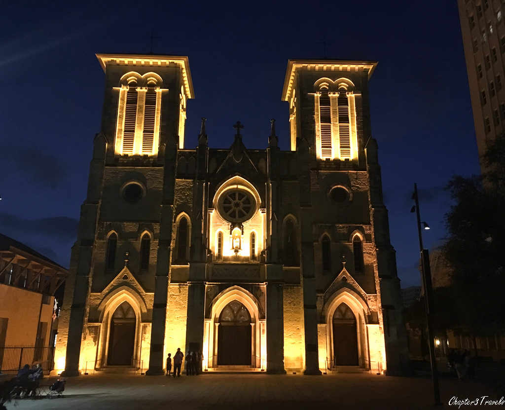 The San Fernando Cathedral lit up at night.