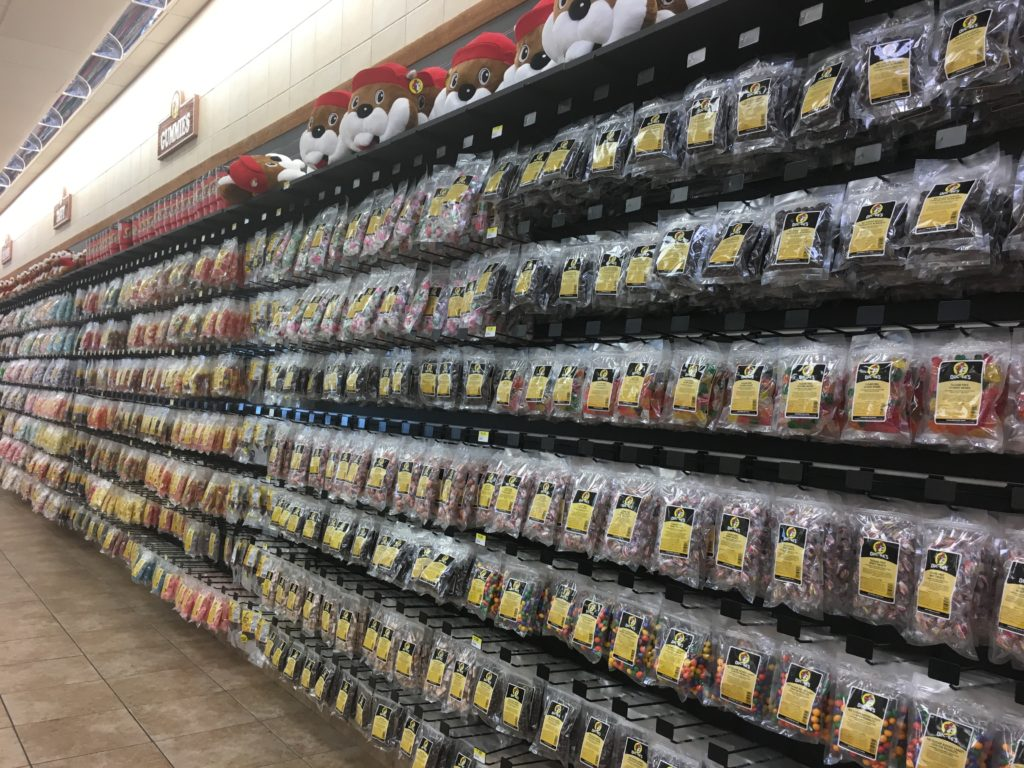 Wall of packaged foods