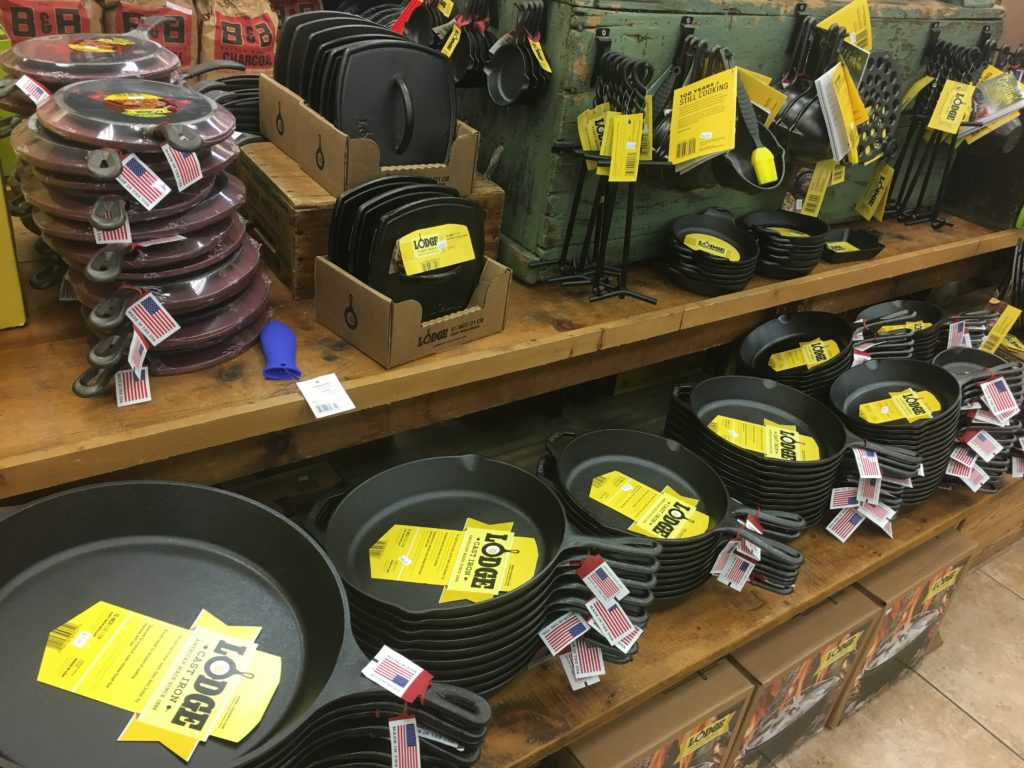 Display of camping cookware