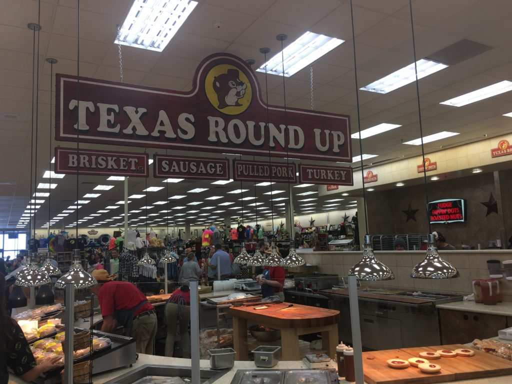 Food station at Buc-ee's
