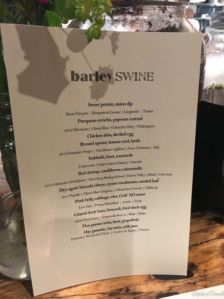 Tasting menu at Barley Swine