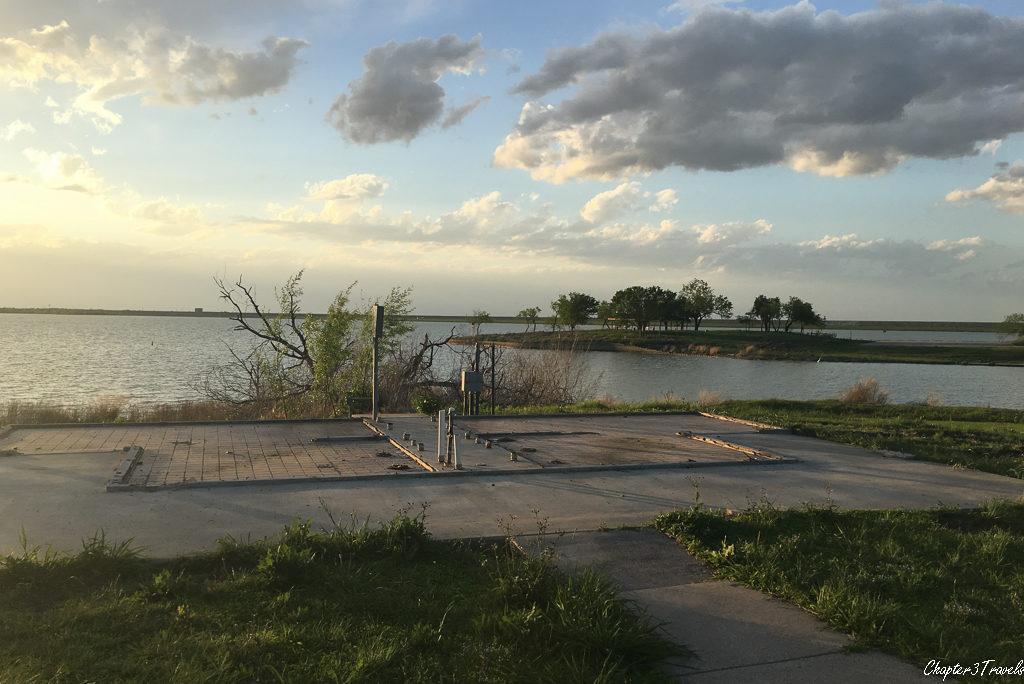 Foundation of bathroom on banks of lake.