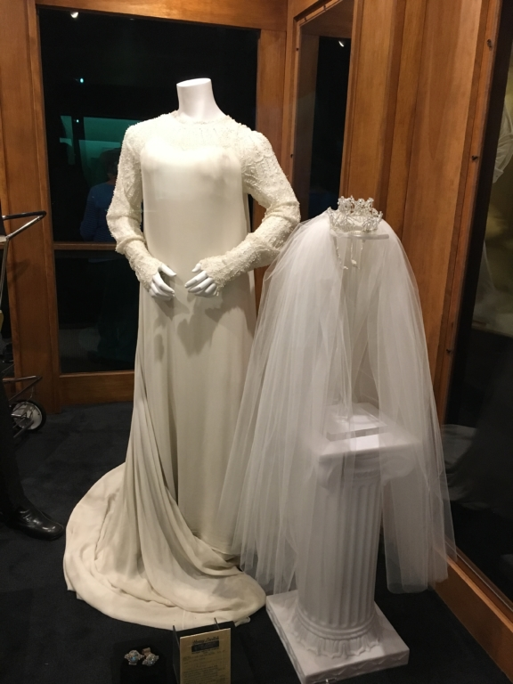 Priscilla Presley's bridal dress and veil