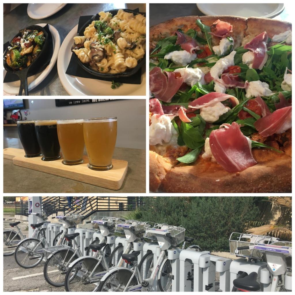 Collage of food, beer, and B-Cycle bike kiosk.