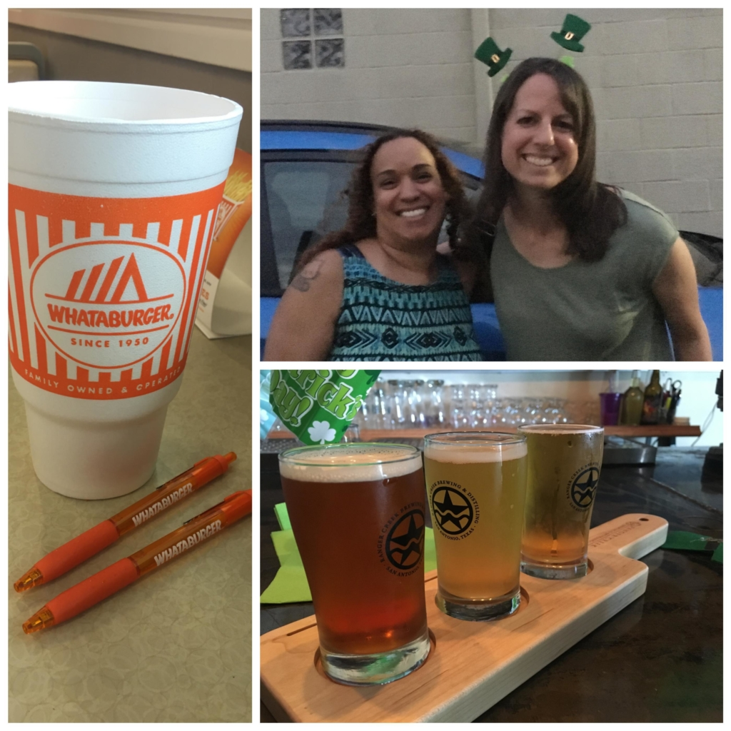 Collage containing photo of orange Whataburger pens, Jen and I, and a flight of beers.