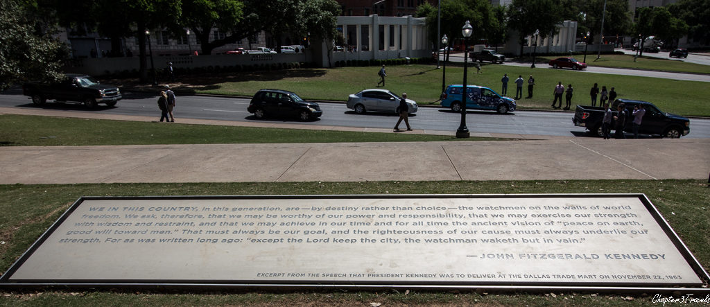 Plaque containing quote from JFK's speech.