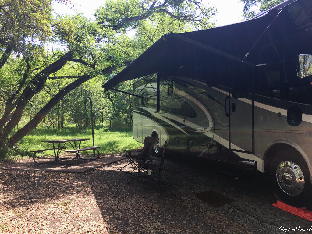RV parked in site #13 at McKinney Falls State Park