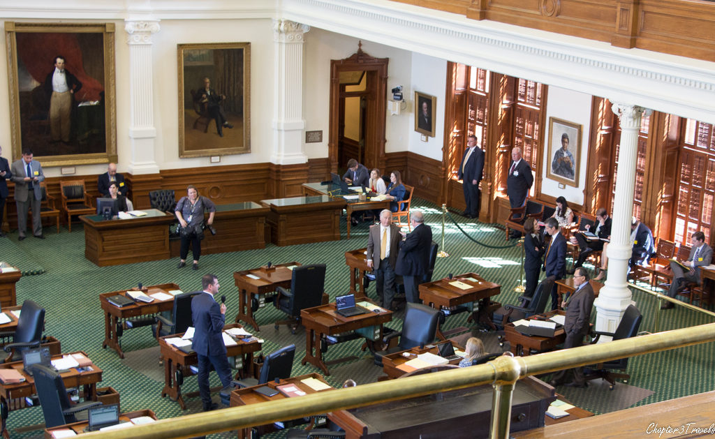 Senators in Texas debating one another in the legislature.