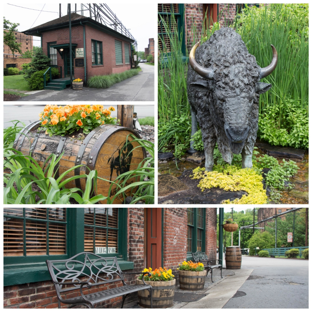 Collage of photos from Buffalo Trace grounds - flowers, statue, bench