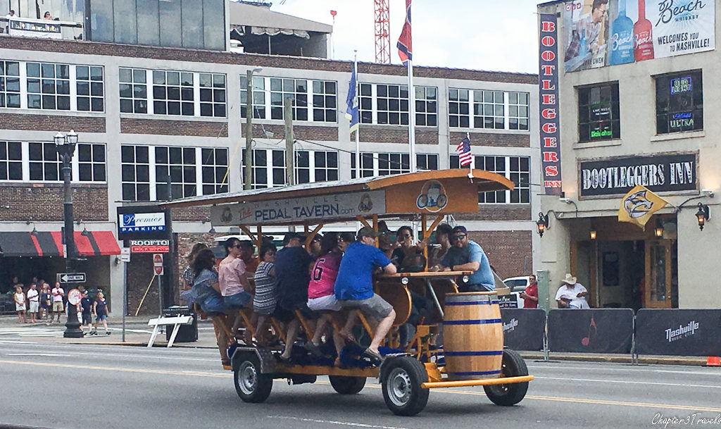 A pedal tavern heading down the road in Nashville, Tennessee.