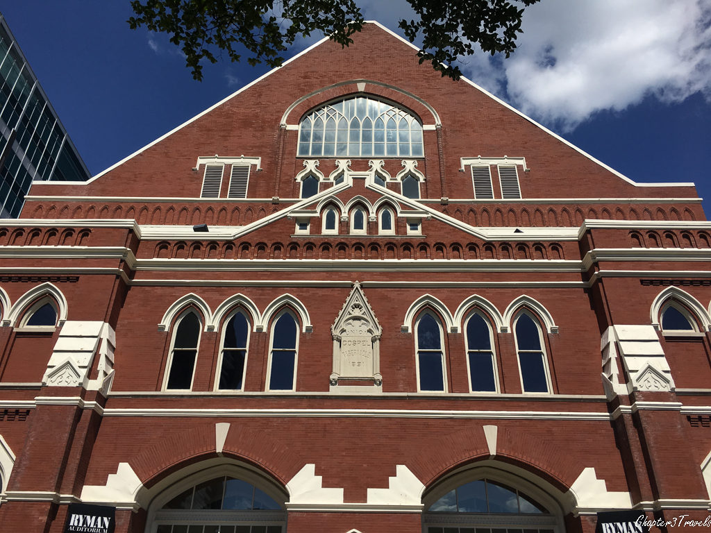 The facade of the historic Ryman Auditorium in Nashville, Tennessee