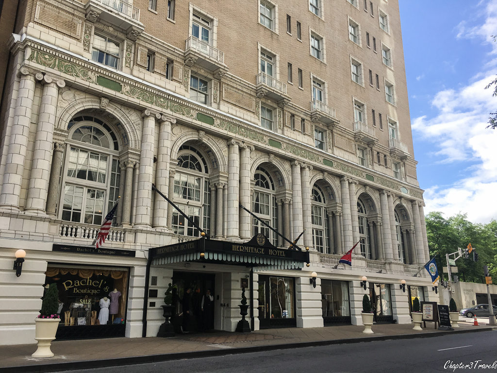 The facade of the Heritage Hotel in downtown Nashville