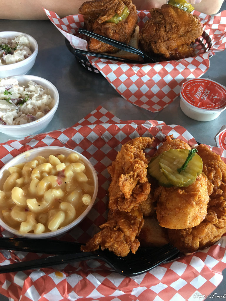 Fried chicken, macaroni and cheese, and potato salad at Hattie Bs in Nashville, Tennessee