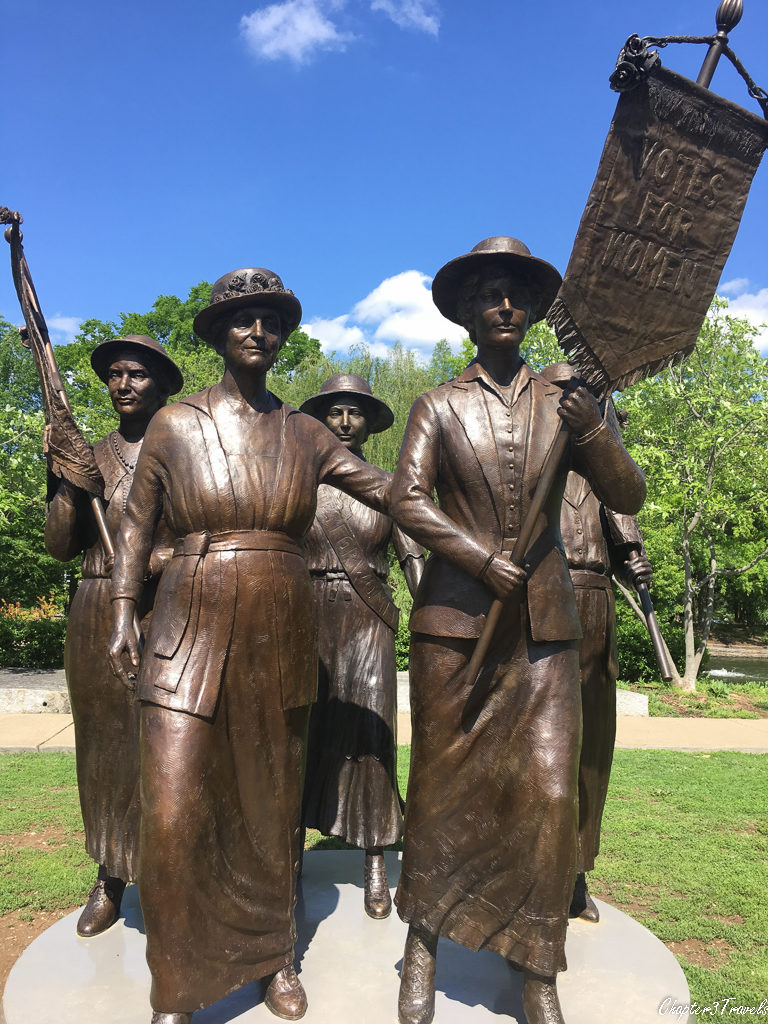 Statue of women marching for women's suffrage.