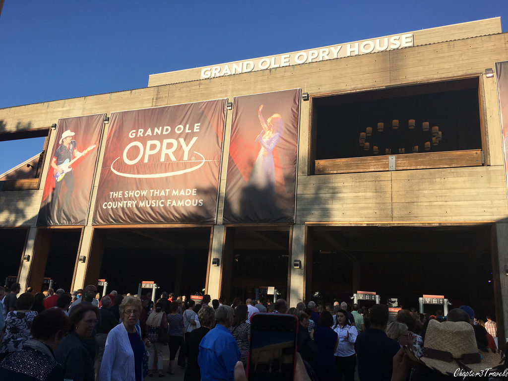 The front of the Grand Ole Opry House in Nashville, Tennessee