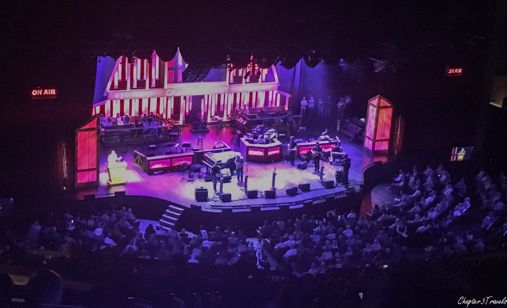 Photograph of the stage at the Grand Ole Opry during a performance