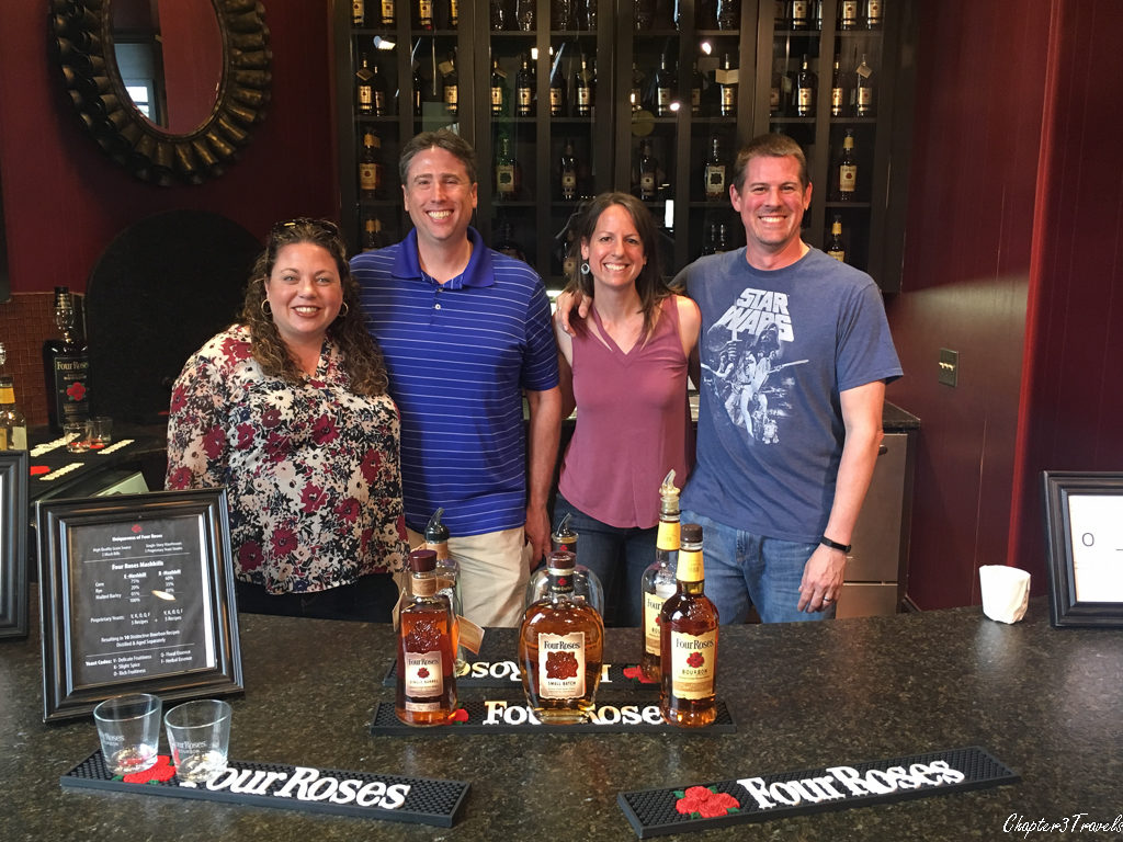 Photo of Kevin, Laura, Danielle, and Art at Four Roses Distillery