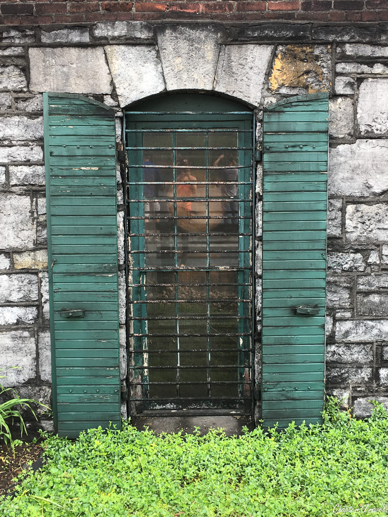 Window with green shutters at Buffalo Trace Distillery