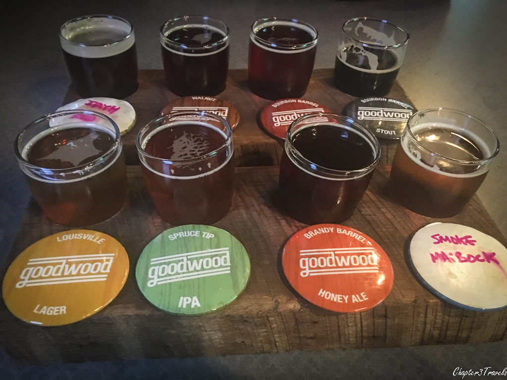 8 beer samples at Goodwood Brewery