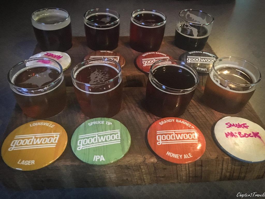 8 beer samples at Goodwood Brewery