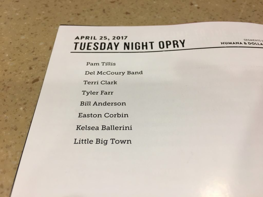 The listing of musical acts playing at the Grand Ole Opry on April 25, 2017