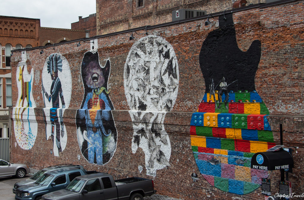A series of paintings on the side of a building, in Nashville, Tennessee.