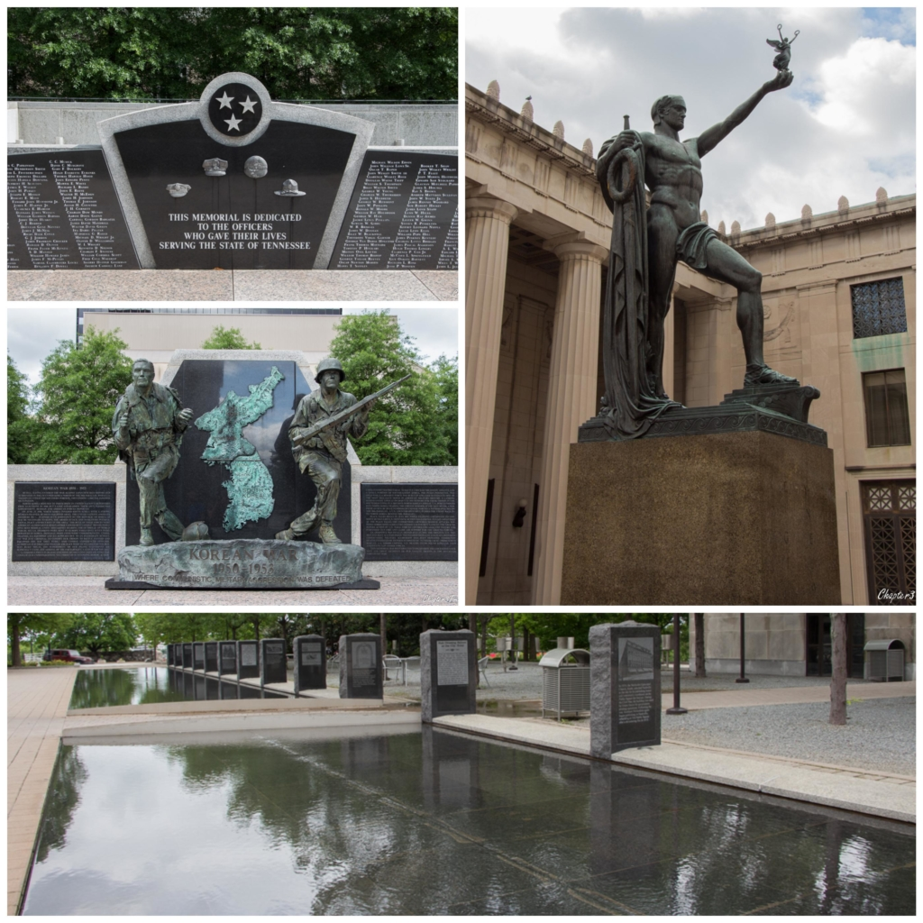 Collage of monuments and memorials near Nashville State Capitol building.