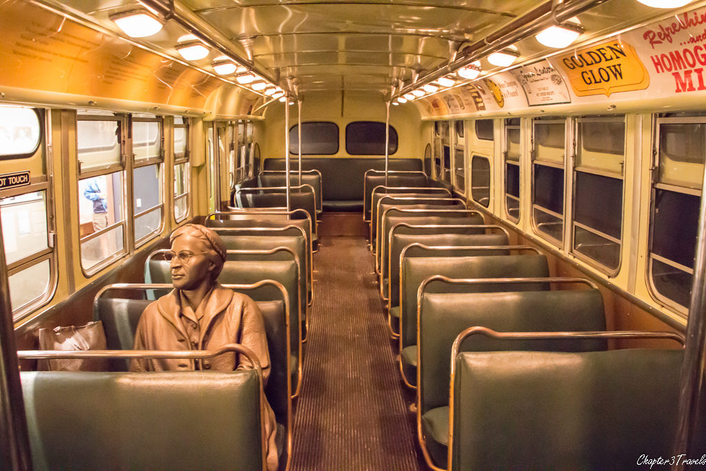 Rosa Parks statue on replica of bus