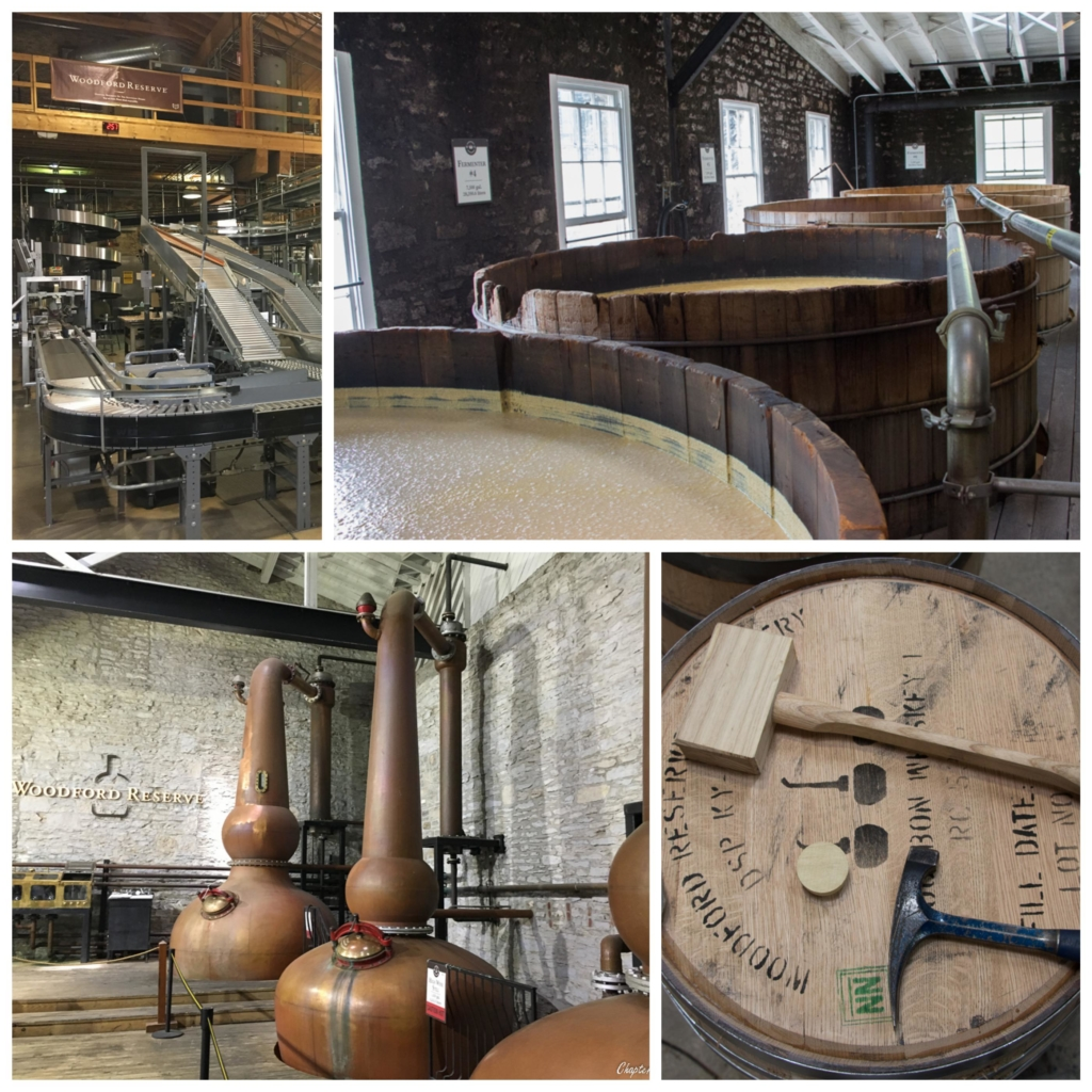 Collage of bottling area, fermentation vats, distillery, and barrel sealing tools from Woodford Reserve distillery tour.