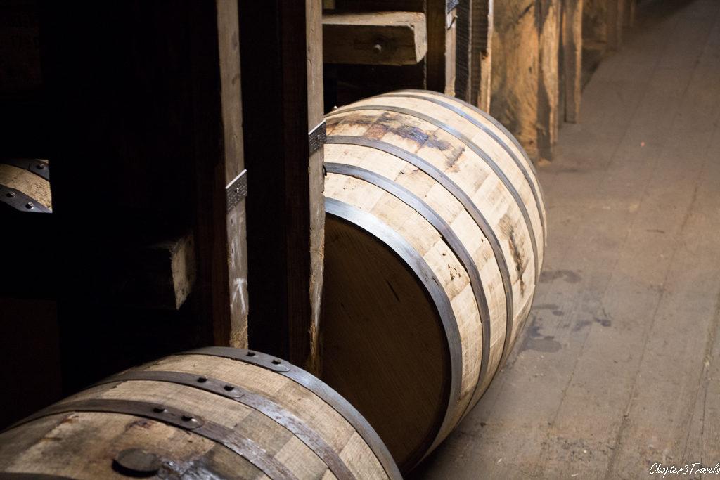 Bourbon barrels sitting in warehouse in Lexington, Kentucky