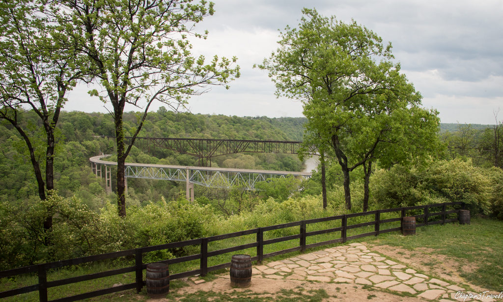 View of the valley and bridges at Wild Turkey Distillery