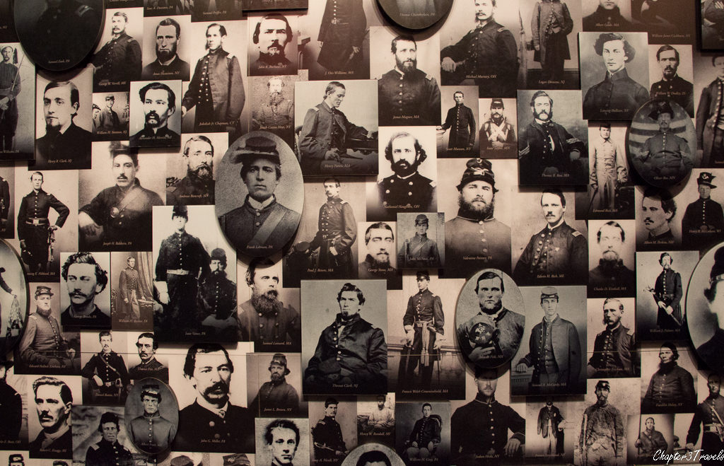 Exhibit showing hundreds of photographs of civil war soldiers at Gettysburg Museum
