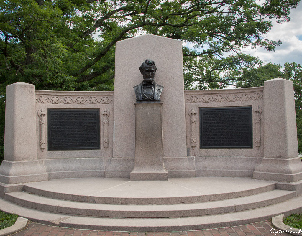 Monument to Abraham Lincoln at Soldiers National Cemetery in Gettysburg, Pennsylvania