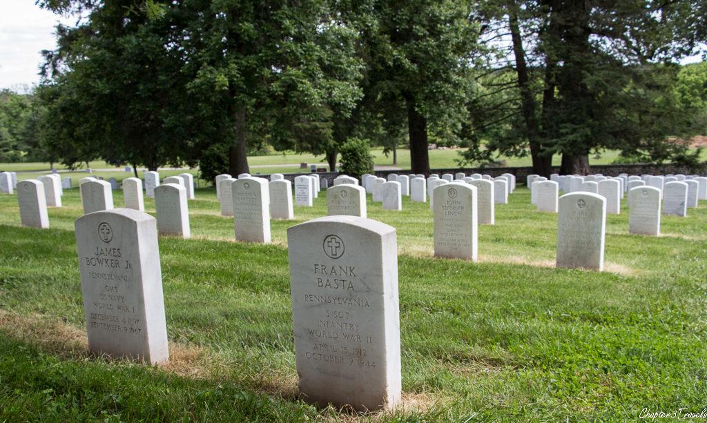 Headstones noting service in World War II at Soldiers National Cemetery in Gettysburg, Pennsylvania