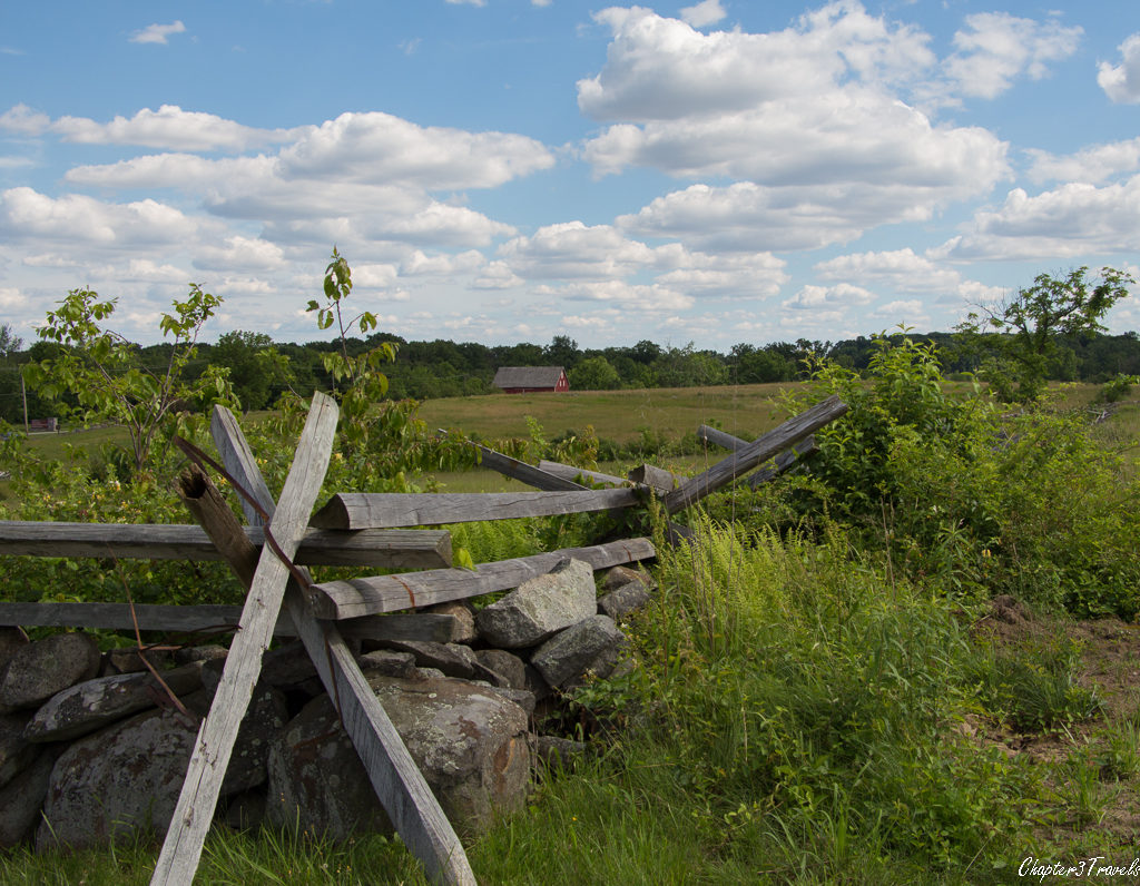 Fence and fields in Gettysburg National Military Park