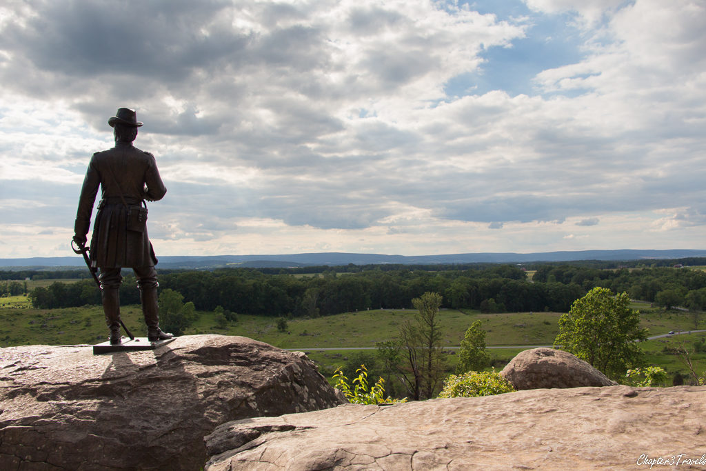 Statue at Little Round Top in Gettysburg National Military Park in Gettysburg, Pennsylvania