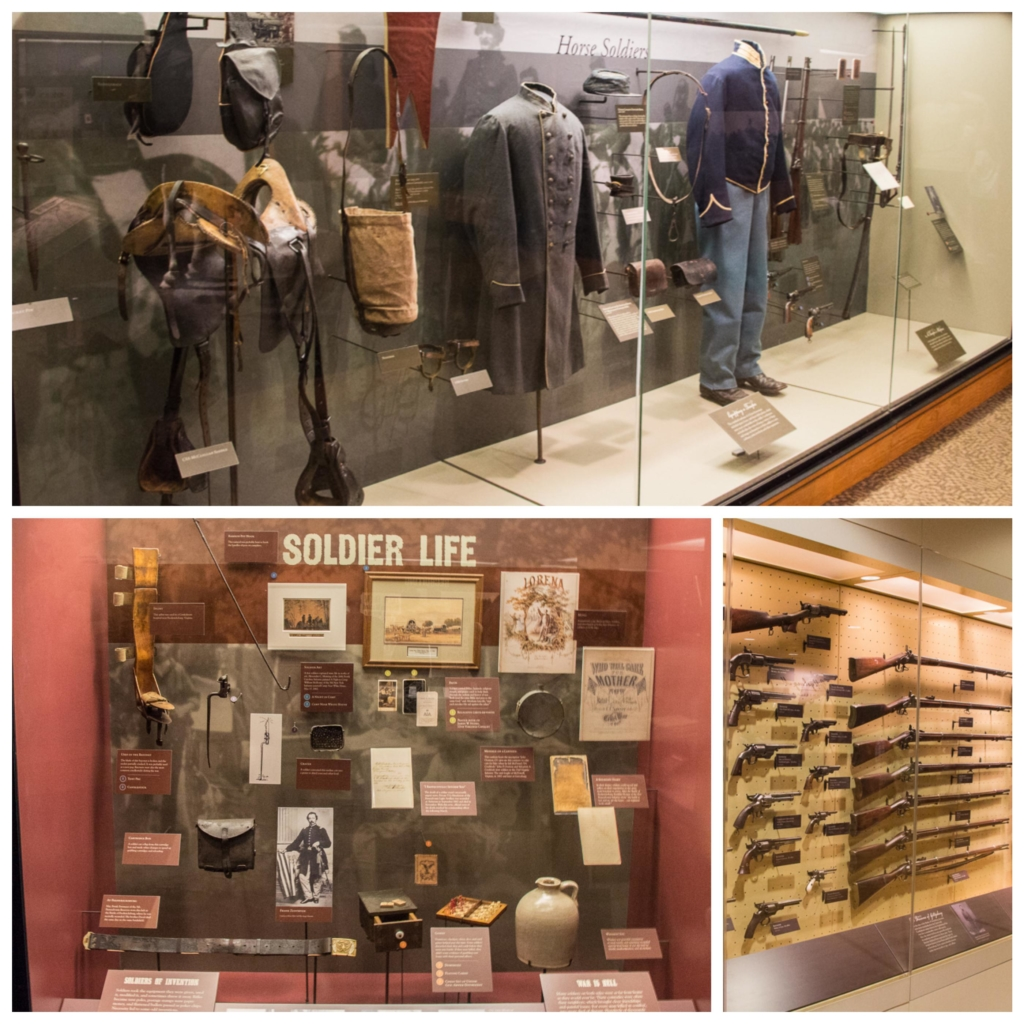 Collage of photos showing exhibits at Gettysburg Museum